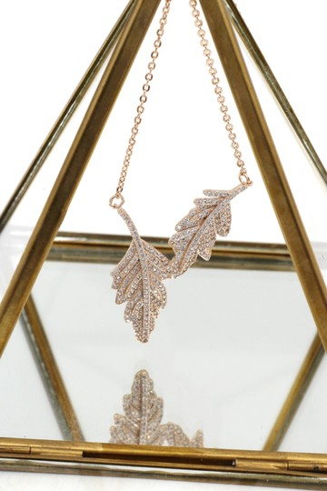 Ocean Fashion 925 gold Fashion crystal leaf clavicle necklace Image 3
