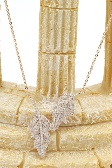Ocean Fashion 925 gold Fashion crystal leaf clavicle necklace Image 4