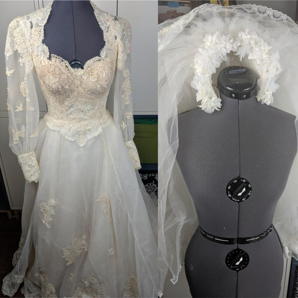 White Stunning 1980 S Gown And Accessories Vintage Wedding Dress Size 4 62 Off Retail