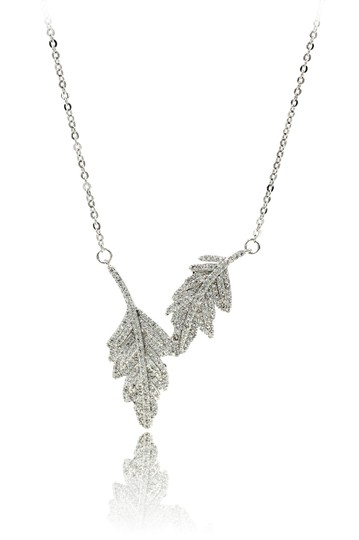 Preload https://img-static.tradesy.com/item/24477025/silver-sterling-crystal-leaf-clavicle-necklace-0-0-540-540.jpg