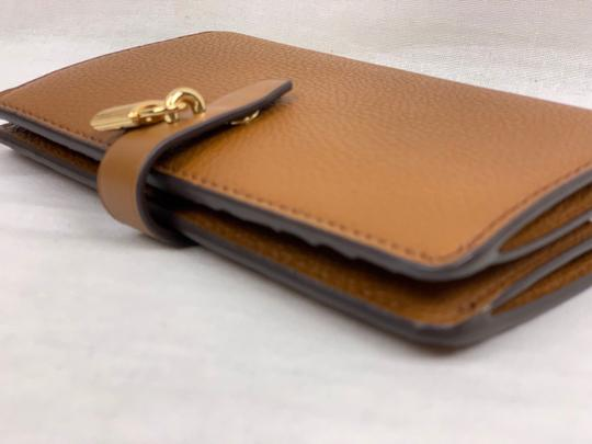 642482f68426 Michael Kors Adele Slim Bifold LUGGAGE Pebbled Leather Wallet with Gold Lock  Image 4
