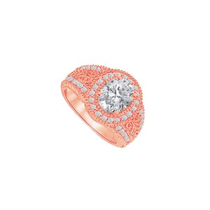 DesignByVeronica Rose Gold Vermeil Filigree Ring with Cubic Zirconia