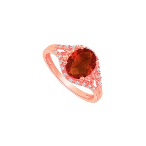 DesignByVeronica Rose Gold Vermeil Ring with Garnet and CZ 1.50 CT TGW