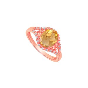 DesignByVeronica Citrine and CZ Split Shank Ring in Rose Gold Vermeil
