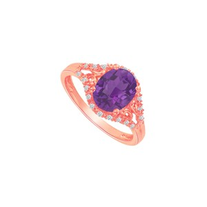 DesignByVeronica Amethyst and CZ Split Shank Ring in Rose Gold Vermeil