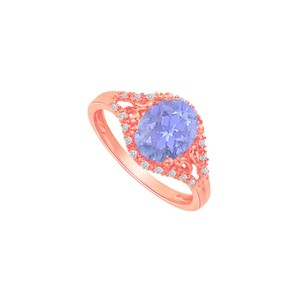 DesignByVeronica Tanzanite and CZ Split Shank Ring in Rose Gold Vermeil