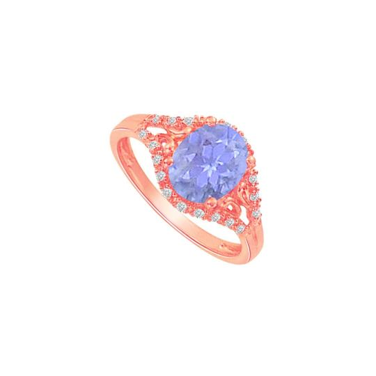 DesignByVeronica Tanzanite and CZ Split Shank Ring in Rose Gold Vermeil Image 0