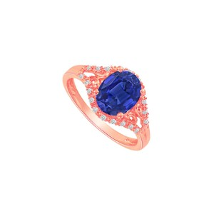 DesignByVeronica Sapphire and CZ Split Shank Ring in Rose Gold Vermeil