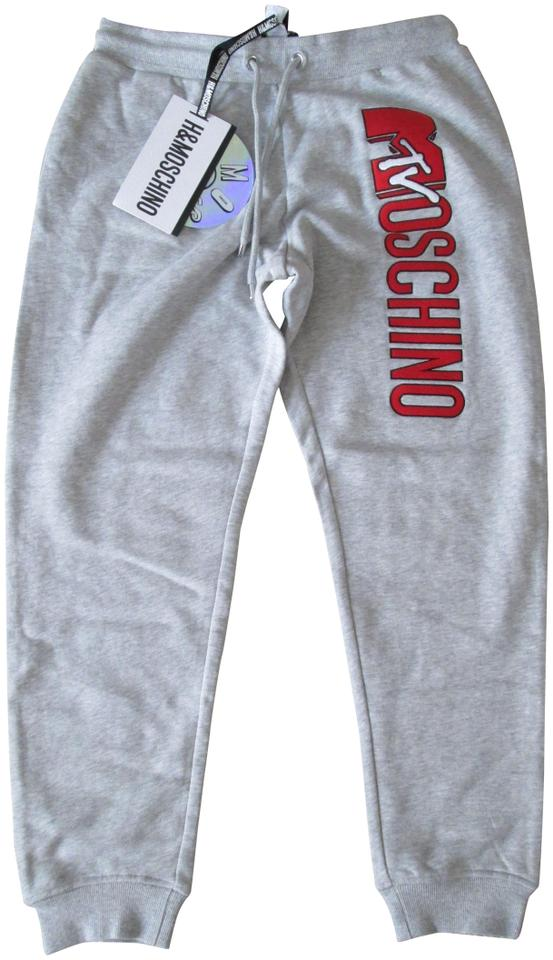 bc7c9676c MOSCHINO  tv  H M Gray Mtv Embroidered Logo Red Jogger Sweatpants ...