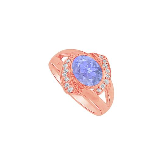 DesignByVeronica Oval Tanzanite CZ Split Shank Rose Gold Vermeil Ring Image 0