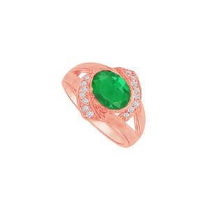 DesignByVeronica Oval Emerald Split Shank Rose Gold Vermeil Ring with CZ