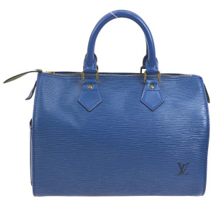 Louis Vuitton Epi Leather Speedy 25 Satchel in Blue