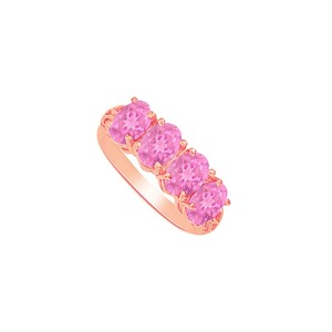 DesignByVeronica Four Pink Sapphire Engagement Ring Rose Gold Vermeil