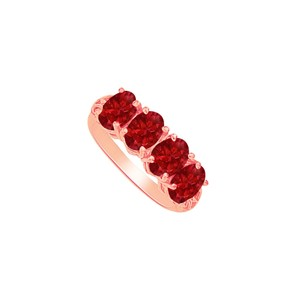 DesignByVeronica Oval Four Ruby Engagement Ring 14K Rose Gold Vermeil