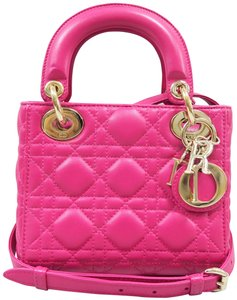 Dior Mini Lady Lambskin Satchel in hotpink