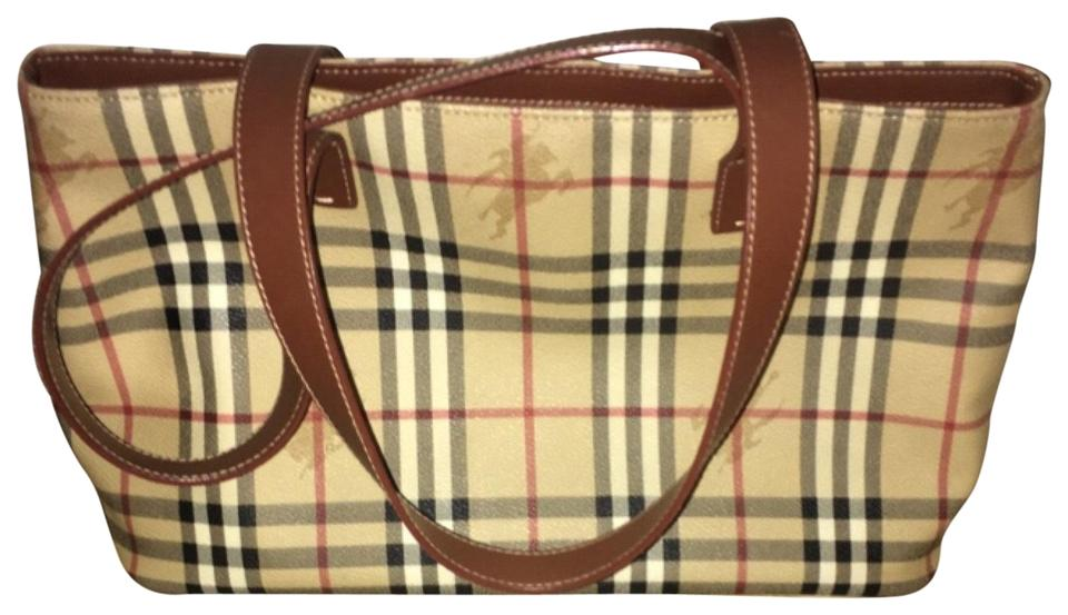 Burberry London Vintage Beige. Brown. Black. Red Leather Tote - Tradesy 6020f4a7bbe7c
