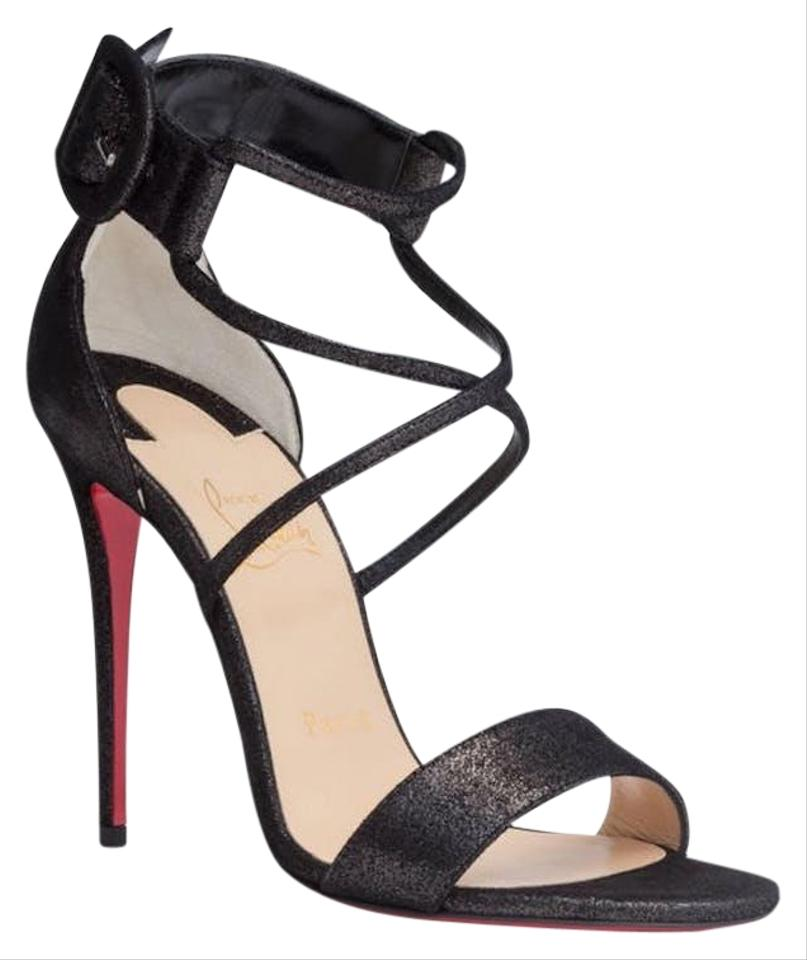 huge discount af9a0 af561 Christian Louboutin Black Choca 100 Suede Criss Cross Ankle Strap Stiletto  Sandal Heel Pumps Size EU 37.5 (Approx. US 7.5) Regular (M, B)