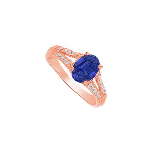 DesignByVeronica Regal Oval Sapphire and CZ Split Shank Engagement Ring
