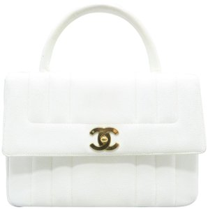 Chanel Vintage Quilted Calfskin Satchel in white