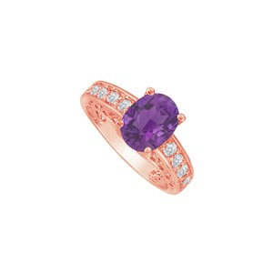 DesignByVeronica Unique Love Purple Hue Oval Amethyst and CZ Ring