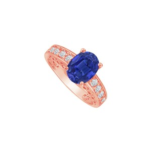 DesignByVeronica Oval Sapphire and Glitzy CZ Ring for Someone Special