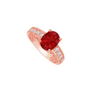 DesignByVeronica Oval Ruby Sparkling CZ Ring for Someone Special in Life