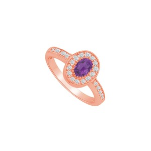 DesignByVeronica Oval Amethyst CZ Halo Engagement Ring 14K Rose Vermeil