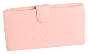 Chanel CHANEL CC Pink Leather Bifold Wallet Clutch