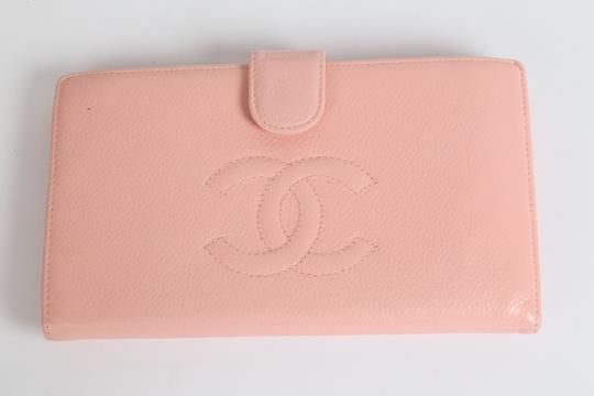 Chanel CHANEL CC Pink Leather Bifold Wallet Clutch Image 3