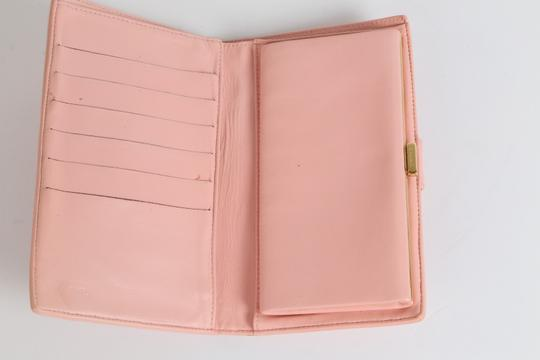 Chanel CHANEL CC Pink Leather Bifold Wallet Clutch Image 6