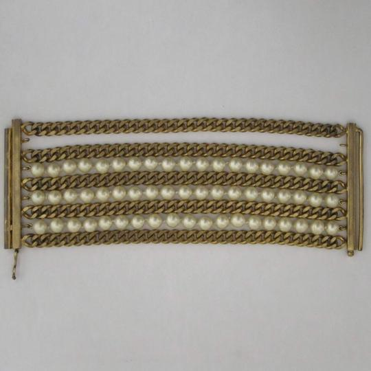 Chanel vintage Chainlink & Faux Pearl Cuff Image 11