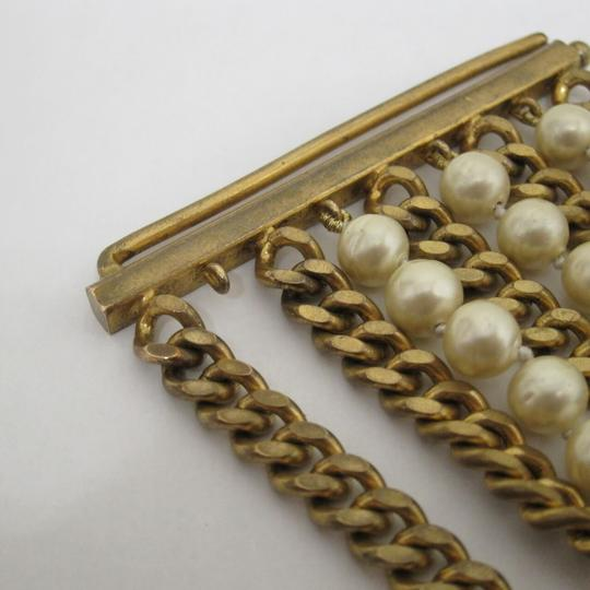 Chanel vintage Chainlink & Faux Pearl Cuff Image 3