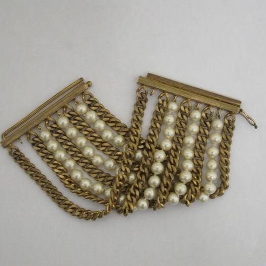 Chanel vintage Chainlink & Faux Pearl Cuff Image 5