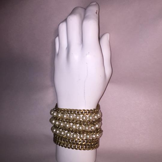Chanel vintage Chainlink & Faux Pearl Cuff Image 6
