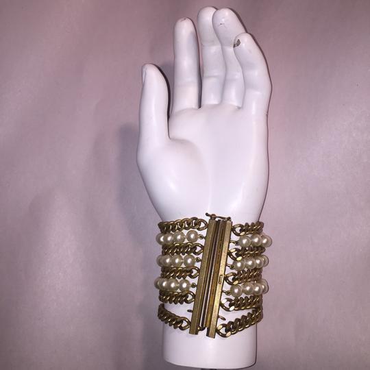 Chanel vintage Chainlink & Faux Pearl Cuff Image 8