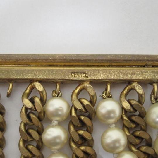 Chanel vintage Chainlink & Faux Pearl Cuff Image 9