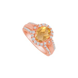 DesignByVeronica Glitzy Love Oval Citrine and CZ Halo Engagement Ring