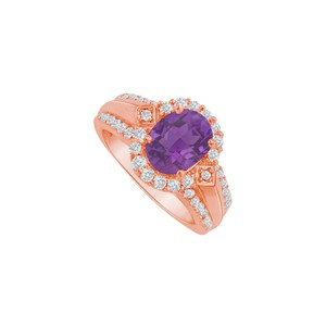 DesignByVeronica Youthful Love Amethyst Halo Engagement Ring 14K Vermeil