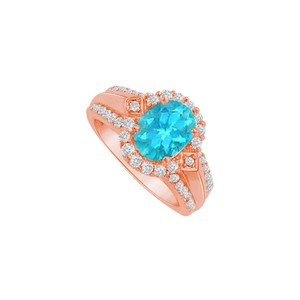 DesignByVeronica Cool Love Oval Blue Topaz Halo Engagement Ring Vermeil