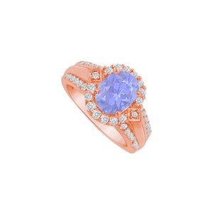 DesignByVeronica Tanzanite and CZ Halo Engagement Ring Rose Gold Vermeil