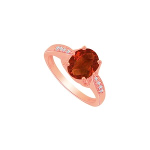 DesignByVeronica 1.50 Carat Oval Garnet and CZ 14K Rose Vermeil Ring