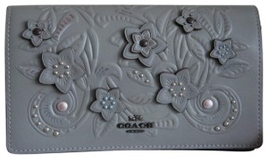 Coach Crossbody Floral Tooling Fold-over Heather Grey Clutch