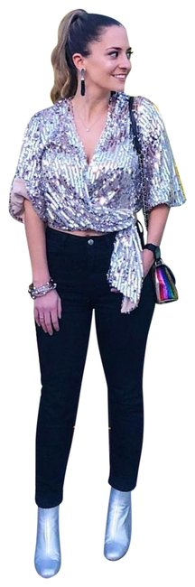 Item - Silver Sequin (8493) Blouse Size 4 (S)