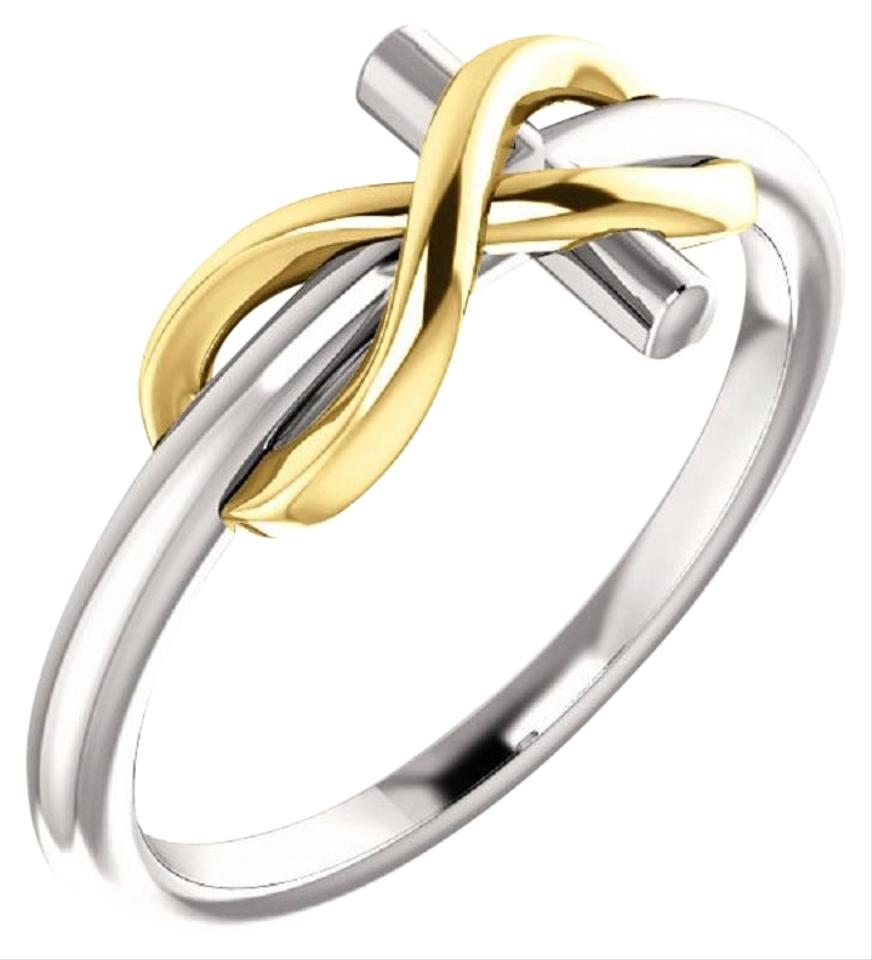 3ef1cbe3002 Apples of Gold 14k Two-tone Infinity Cross For Women Ring 14% off retail