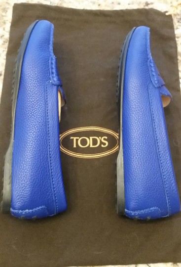 Tod's Leather Blue Flats Image 3