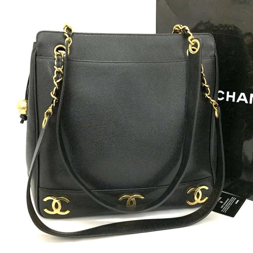 95db4b8a6b39 Chanel Like New Triple Coco Cc Chain Shoulder Black Caviar Skin Tote -  Tradesy