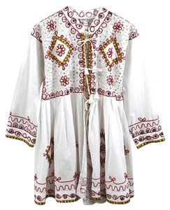 Juliet Dunn Fall Holiday Embellished Winter Sparkle Top White/Red/Gold/Silver