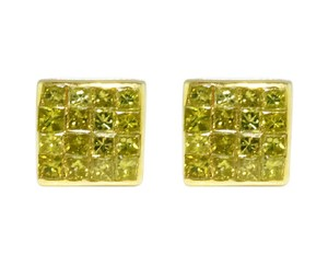 Jewelry Unlimited 10K Invisible Princess Real Canary Diamond 6mm Stud 0.50 Ct