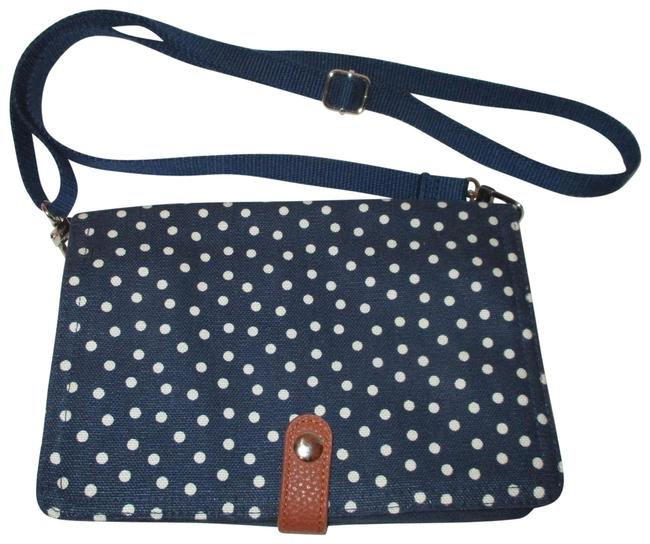 Item - Polka Dot Organizer Navy & White Cotton Cross Body Bag