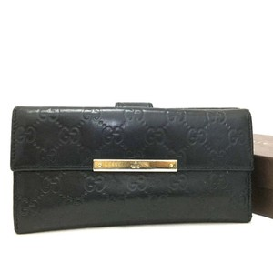 056ad33052cb Gucci Auth GUCCI Shima GG Logo Pattern Black Leather Long Bifold Wallet /r65